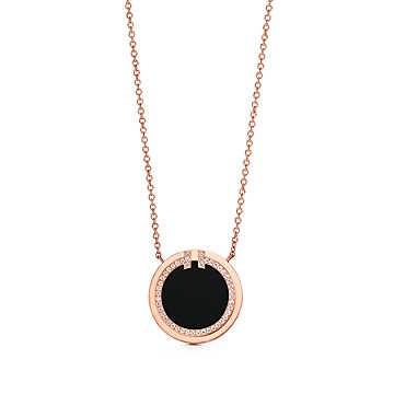 Tiffany&Co Diamond and Black Onyx Circle Pendant RoseGold