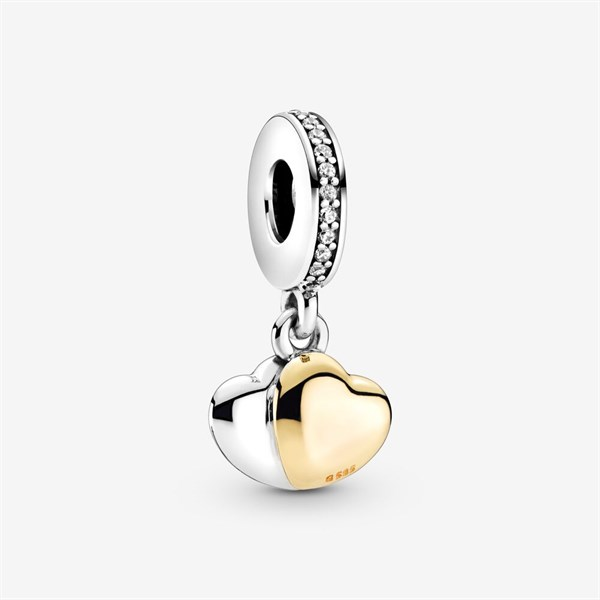 Two-Tone Double Heart Dangle Charm