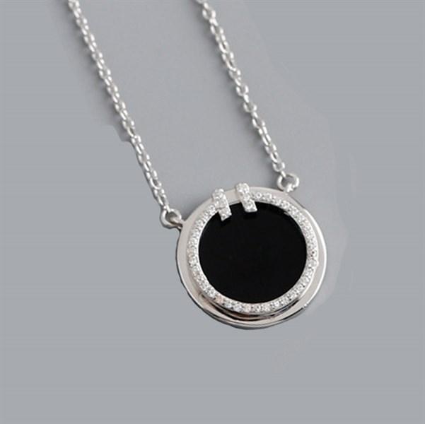 Tiffany&Co Diamond and Black Onyx Circle Pendant Silver