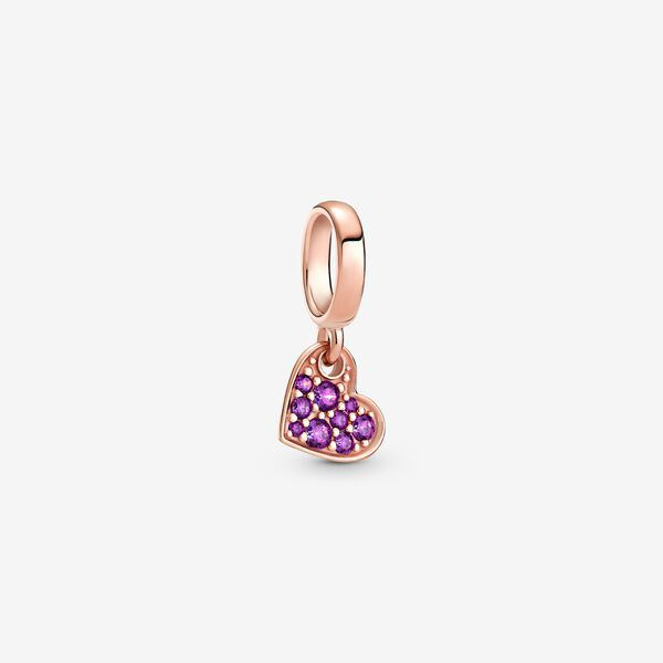 Royal Purple Pavé Tilted Heart Dangle Charm