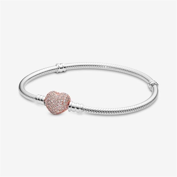 Moments Silver Bracelet, Rose Pave Heart