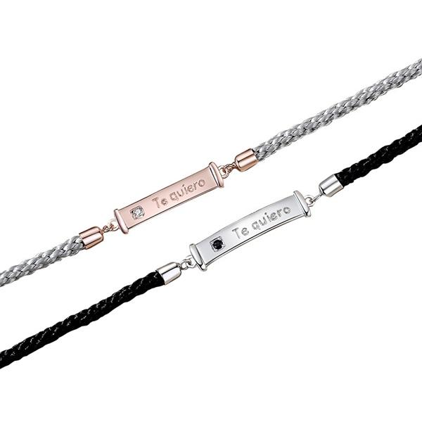 Couple Te-quiero Silver Bar Rope Bracelet ( Freesize )