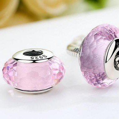 Pink Faceted Murano Glass Charm