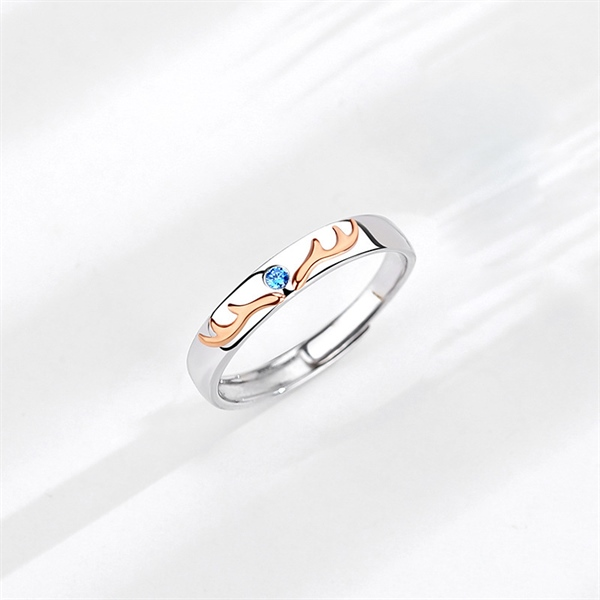 Couple Deer Blue Silver Ring ( Freesize )