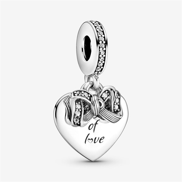 Bow & Love Heart Dangle Charm