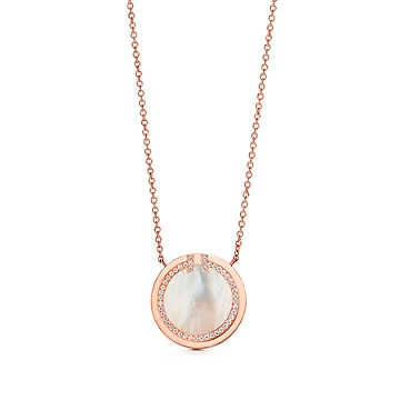 Tiffany&Co Diamond and Mother-of-pearl Circle Pendant RoseGold