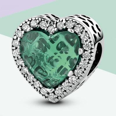 Sea Green Heart Shape Radiant Charm