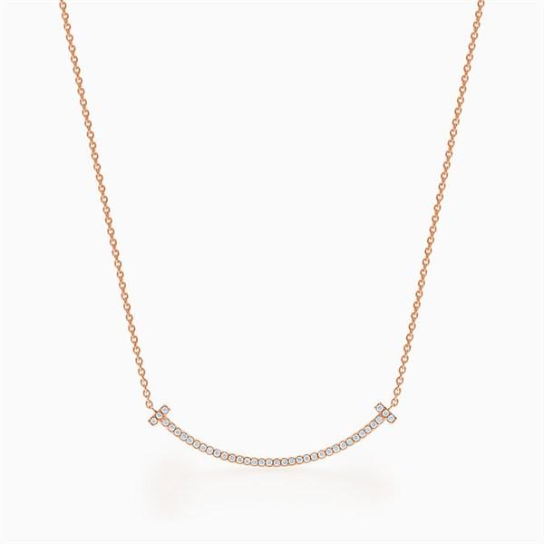 Tiffany T Smile Diamond Necklace Rosegold