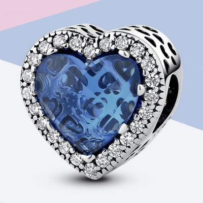 Dark Blue Heart Shape Radiant Charm