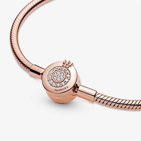 Pandora Moments Sparkling Crown O Snake Chain Bracelet Rosegold