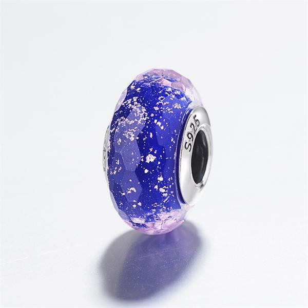 Blue Dark Galaxy Glass Silver Charm