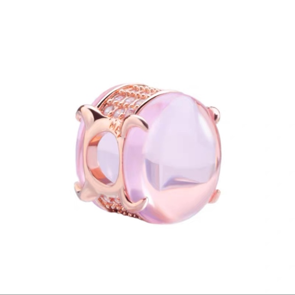 Pink Stone Rosegold Charm