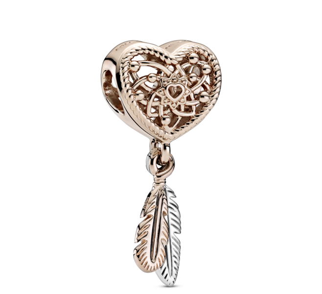 Openwork Heart & Two Feathers Dreamcatcher Charm $60.00