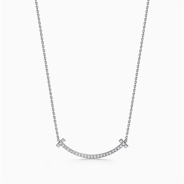 Tiffany T Smile Diamond Necklace Silver