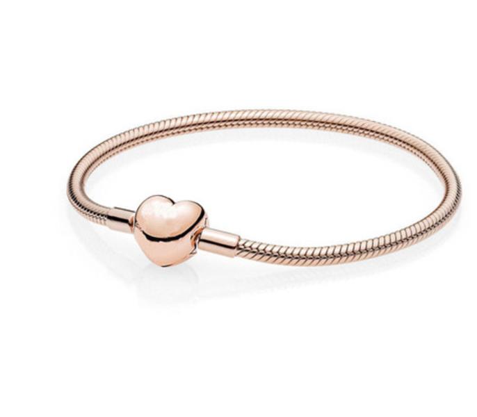 Pandora Moments Heart Clasp Snake Chain Bracelet Rosegold