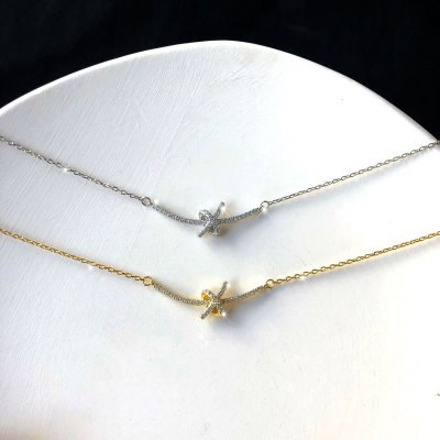 Knotted Winding Silver Necklace