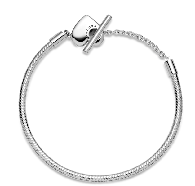 Pandora Moments T-Bar Heart Snake Chain Bracelet