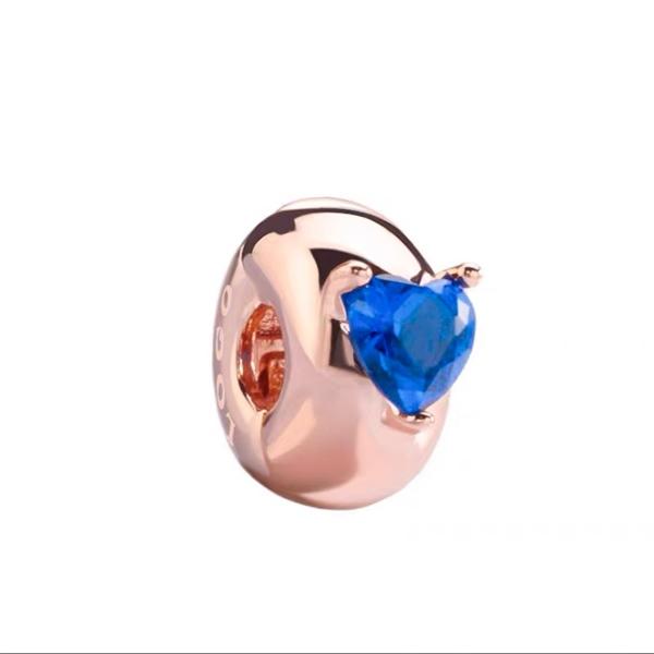 Blue Heart Clip Rosegold
