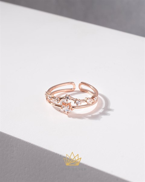 Diamond Double Star Rosegold Ring