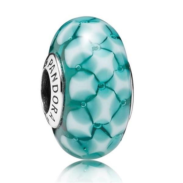 Pandora Teal Lattice Murano Glass Charm