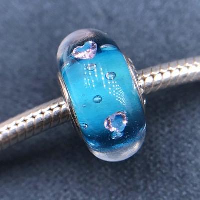 Bubble Dark Blue Glass Charm
