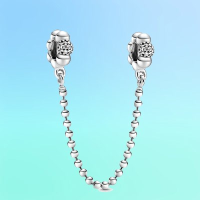 Beads & Pave Safety Chain Charm