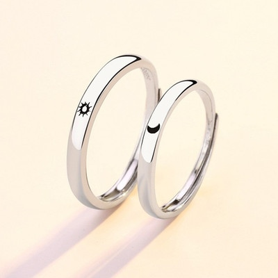 Couple Sun And Moon Silver Ring