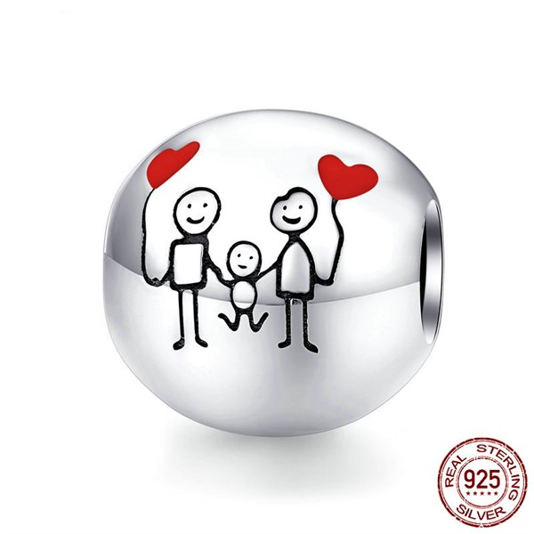 Family Red Heart Balloon Charm