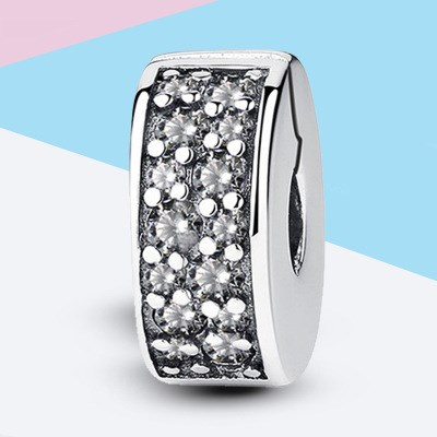 Clear White Pave Clip Charm