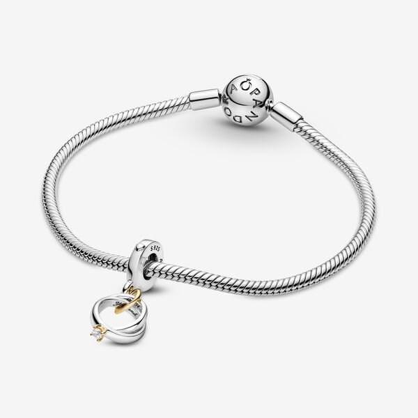Two-tone Wedding Rings Dangle Charm