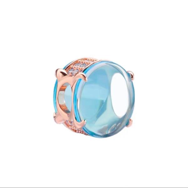 Blue Stone Rosegold Charm