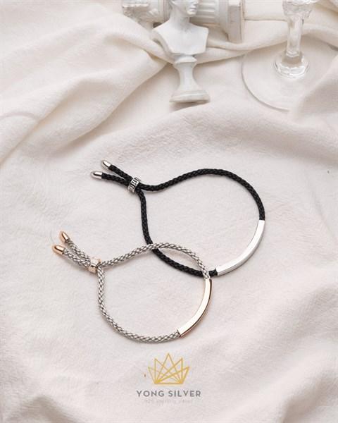 Couple Silver Bar Rope Bracelet