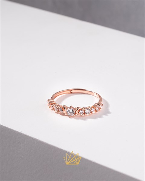 Diamond Half Moon Rosegold Ring