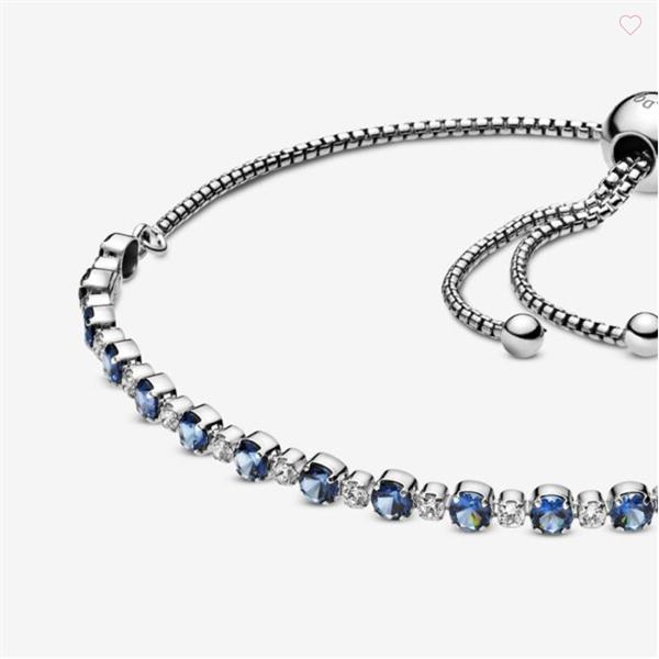 Blue and Clear Sparkle Slider Bracelet