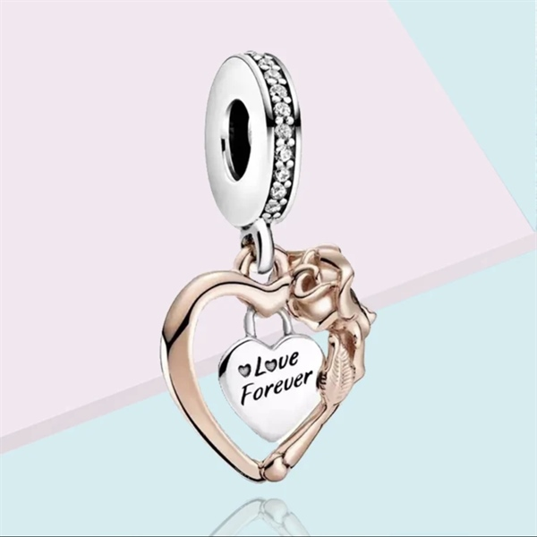 Love Forever Heart Dangle Charm