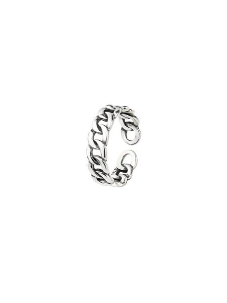 Chain Cuff Silver Ring ( Freesize )