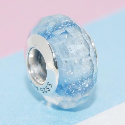 Light Blue Shimmer Murano Glass Charm