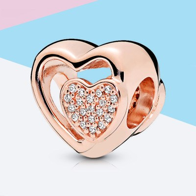 Pave Heart In Heart Charm