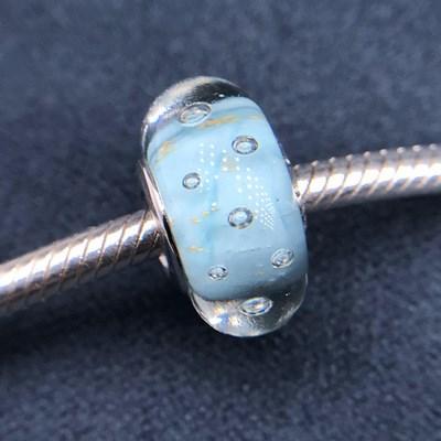 Bubble Light Blue Glass Charm