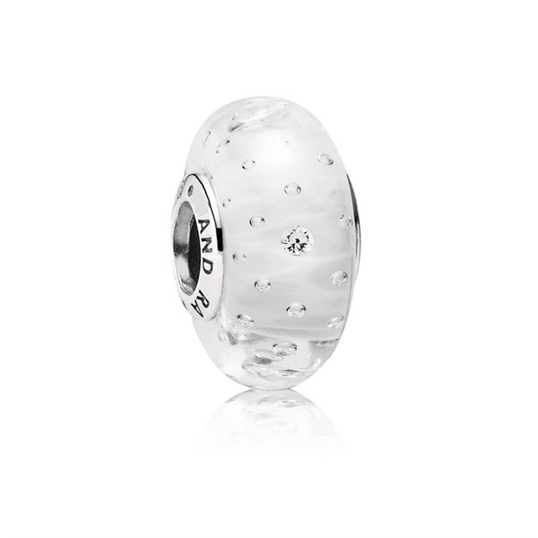 White Fizzle Murano Glass Charm Pandora