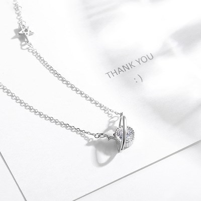 Diamond Planet Silver Necklace